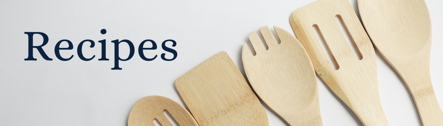 Recipes website slide with wooden spoons