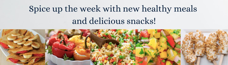 Recipe website slide with breakfast pockets, stuffed peppers, rice, pineapple salse, frozen banana pops