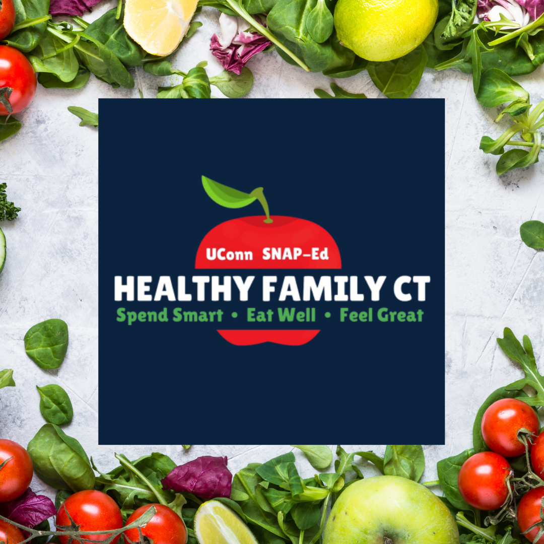 Healthy Family Connecticut over collage of fruit and vegetables